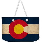 Colorado State Flag Art On Worn Canvas Weekender Tote Bag by Design Turnpike