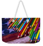 Colored Pencils On Wooden Flag Weekender Tote Bag