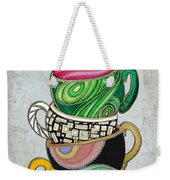 Colorful Coffee Cups Mugs Hot Cuppa Stacked II By Romi And Megan Weekender Tote Bag