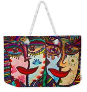 Colorful Faces Gazing - Ink Abstract Faces Weekender Tote Bag