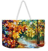Colorful Forest - Palette Knife Oil Painting On Canvas By Leonid Afremov Weekender Tote Bag