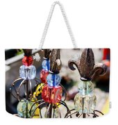 Colorful Glass And Metal Garden Ornaments Weekender Tote Bag