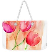 Colorful Illustration Of Red Tulips Flowers  Weekender Tote Bag