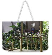 Colorful Macaws And Other Small Birds On Trees At An Exhibit Weekender Tote Bag