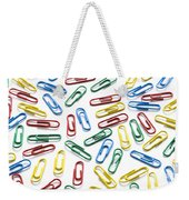 Colorful Paperclips On White Weekender Tote Bag