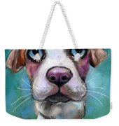 Colorful Pit Bull Puppy With Blue Eyes Painting  Weekender Tote Bag by Svetlana Novikova