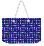 Colorful Polka Dots On Blue Fabric Background Weekender Tote Bag