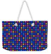 Colorful Polka Dots On Dark Blue Fabric Background Weekender Tote Bag