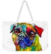 Colorful Pug Dog Painting  Weekender Tote Bag
