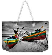 Colorful Retro Ship Boats On The Beach Weekender Tote Bag