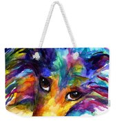 Colorful Sheltie Dog Portrait Weekender Tote Bag