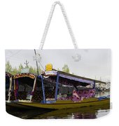 Colorful Shikaras Tied Up Next To The Dal Lake In Srinagar Weekender Tote Bag