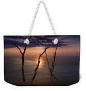 Colorful Sunset Seascape With Tree Trunks Weekender Tote Bag