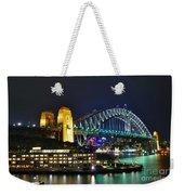 Colorful Sydney Harbour Bridge By Night Weekender Tote Bag by Kaye Menner