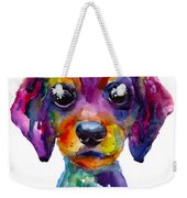 Colorful Whimsical Daschund Dog Puppy Art Weekender Tote Bag