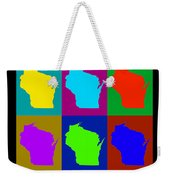 Colorful Wisconsin Pop Art Map Weekender Tote Bag
