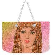 Coloured Pencil Self Portrait Weekender Tote Bag by Joan-Violet Stretch