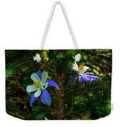 Columbine Flowers And Pine Tree Weekender Tote Bag