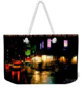 Comfort And Joy To All This Holiday Season - Corner In The Rain - Holiday And Christmas Card Weekender Tote Bag