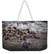 Common Merganser With Chicks Weekender Tote Bag