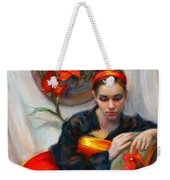 Common Threads - Divine Feminine In Silk Red Dress Weekender Tote Bag by Talya Johnson