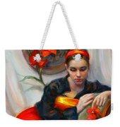 Common Threads - Divine Feminine In Silk Red Dress Weekender Tote Bag