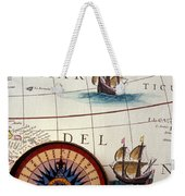 Compass And Old Map With Ships Weekender Tote Bag