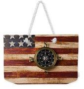 Compass On Wooden Folk Art Flag Weekender Tote Bag