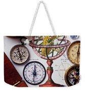 Compasses And Globe Illustration Weekender Tote Bag
