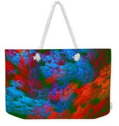 Computer Generated Abstract Red And Green Fractal Flame Weekender Tote Bag