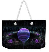 Computer Generated Blue Purple Abstract Fractal Flame Black Background Weekender Tote Bag