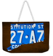 Connecticut State License Plate Map Weekender Tote Bag