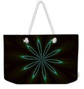 Contemporary Teal Floral On Black Weekender Tote Bag