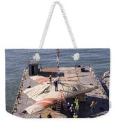 Contractors Hoist The X-47b Unmanned Weekender Tote Bag