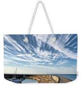 Contrails At Lyme Regis Harbour  Weekender Tote Bag