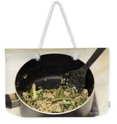 Cooking Salmon With Green Beans Weekender Tote Bag