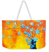 Cool Blue On Fire Weekender Tote Bag