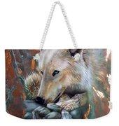 Copper Arctic Wolf Weekender Tote Bag by Sandi Baker