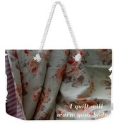 Coral Rose Quilt With Quote Weekender Tote Bag