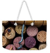 Corkscrew On Top Of Wine Corks Weekender Tote Bag by Garry Gay
