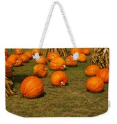 Corn Plants With Pumpkins In A Field Weekender Tote Bag