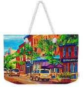 Corona Theatre Presents The Burgundy Lion Rue Notre Dame Montreal Street Scene By Carole Spandau Weekender Tote Bag