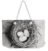 Cottage Bird's Nest In Black And White Weekender Tote Bag