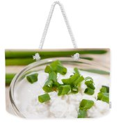 Glass Bowl Of Cottage Cheese With Chives  Weekender Tote Bag