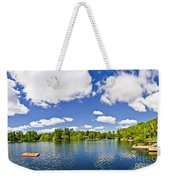 Cottage Lake With Diving Platform And Dock Weekender Tote Bag by Elena Elisseeva