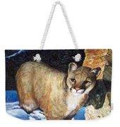 Cougar In Snow Weekender Tote Bag
