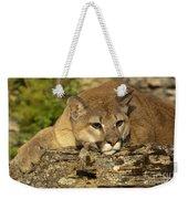 Cougar On Lichen Rock Weekender Tote Bag