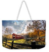 Country Covered Bridge Weekender Tote Bag by Debra and Dave Vanderlaan