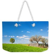 Countryside Landscape During Spring With Solitary Trees And Fence Weekender Tote Bag