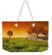 Countryside Orchard Landscape At Sunset. Spring Time Weekender Tote Bag
